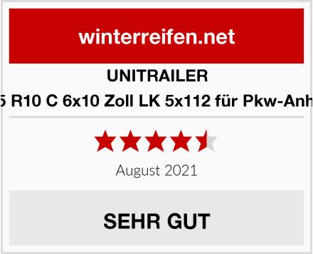 UNITRAILER 195-55 R10 C 6x10 Zoll LK 5x112 für Pkw-Anhänger Test