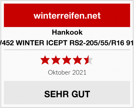 Hankook W452 WINTER ICEPT RS2-205/55/R16 91H Test