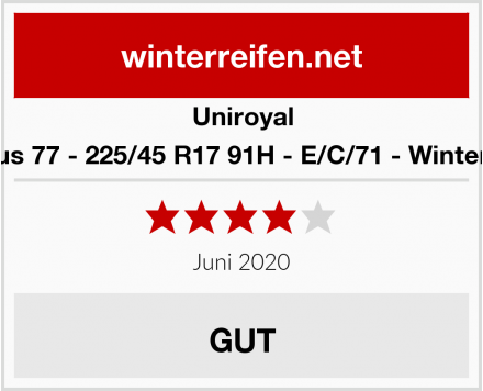 Uniroyal MS plus 77 - 225/45 R17 91H - E/C/71 - Winterreifen Test